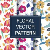 Conjunto de patrones florales vector