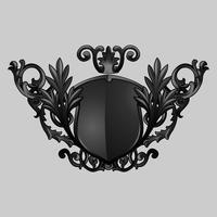 Svart barock sköldelement vektor