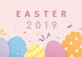 Happy Easter 2019 card design vector