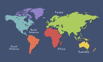 Illustrazione della mappa del mondo isolata