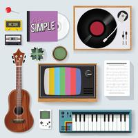 Illustratie van vintage muziek entertainment stuff set