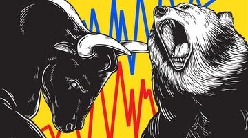 Concept d'icône Business investissement Bull and Bear Market
