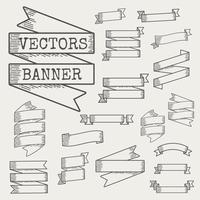 Illustration of ribbon banner vector set