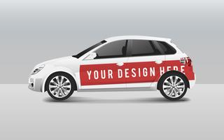 White hatchback car template vector for design