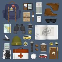 Ilustración de conjunto de paquete de viaje
