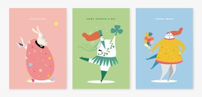 Conjunto de várias ilustração de personagens de férias