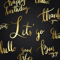 Let's go typography style vector set