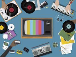 Illustration av vintage musik underhållning saker uppsättning