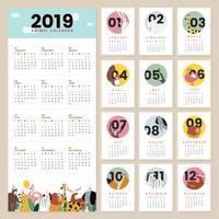 Modello di calendario animale carino