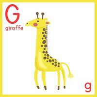 Illustration av alfabetbrev med djurbild