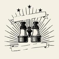 Ilustración de la insignia de binoculares antiguos