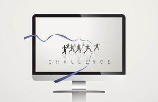 Concetto di vettore di missione di sviluppo di sfida