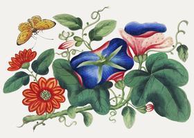 Chinese painting featuring flowers and butterfly.