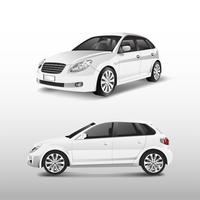 White hatchback car isolated on white vector