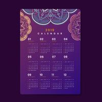 Maquete de calendário de mandala