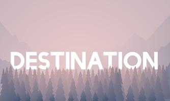 Destination word on woods background illustration