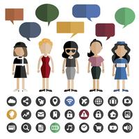 Set of diverse mature women avatar character illustration