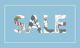 Ilustración de venta palabra decorada con flores