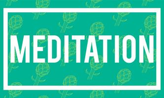 Illustration of meditation word on green background