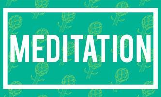 Ilustración de la palabra meditación en fondo verde