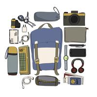 Illustration of travel packing isolated