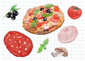 Handritad italiensk pizza akvarell stil