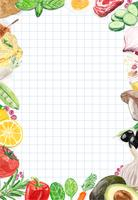 Handritad vegetabilisk ram med designutrymme