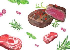 Handgezeichnete Steak Aquarell Stil