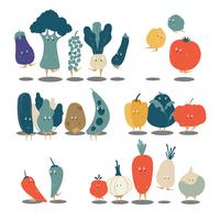Conjunto de vectores de varios personajes de dibujos animados vegetales orgánicos