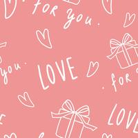 Love and heart pattern seamless pink background vector