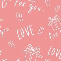 Amour et coeur modèle vecteur de fond rose sans soudure
