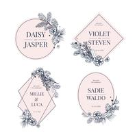Collection d'invitations de mariage floral