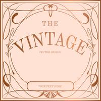Vector de la insignia del art nouveau del oro rosa vintage