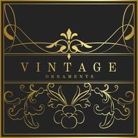 Vintage gyllene art nouveau emblem vektor