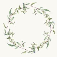 Green leaf wreath design vector