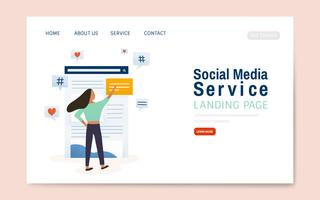 Social media-dienst bestemmingspagina lay-out vector