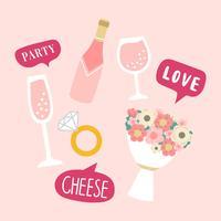 Vecteur des accessoires de stand de mariage