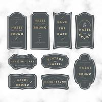 Vintage wedding invitation sticker label vector set