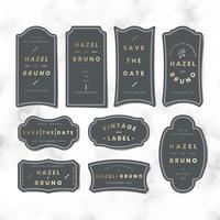 Vintage bruiloft uitnodiging sticker label vector set