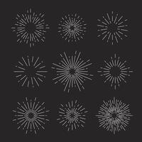 Sunburst vector set on black