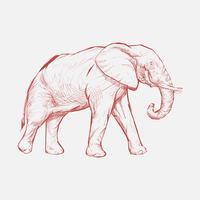 Stile di disegno dell'illustrazione dell'elefante