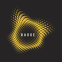 Yellow wavy halftone badge on black background vector