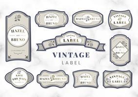Set de vector étiquette mariage invitation Vintage