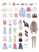 Vector de diferentes tipos de ropa.