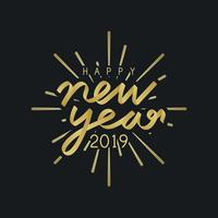Happy new year 2019 badge vector
