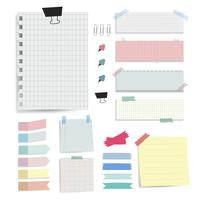 Notes de papier vierge colorée vector ensemble