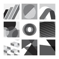 Monochrome Swiss graphic illustration set