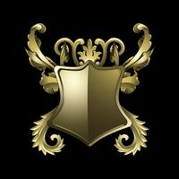 Gouden barokke schild elementen vector