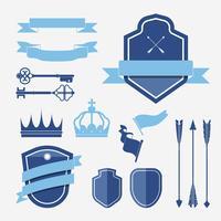 Set of blue label ornament vectors