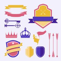 Set of colorful label ornament vectors